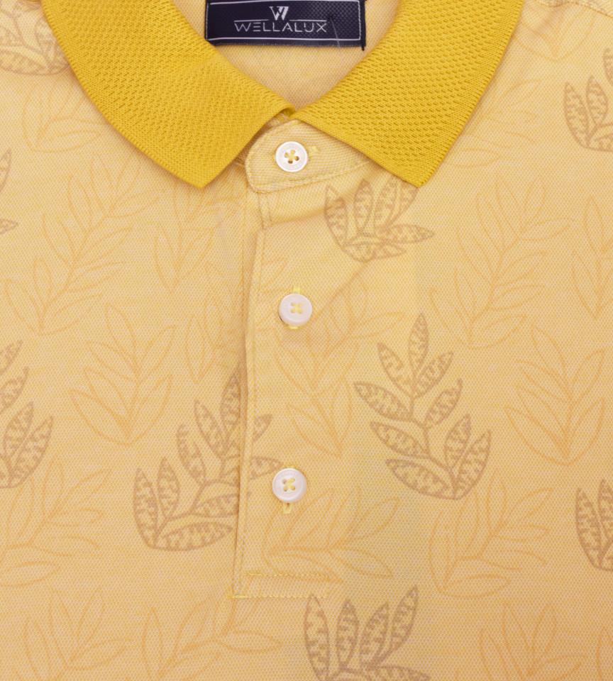 Tricou Polo Regular fit- galben cu imprimeu