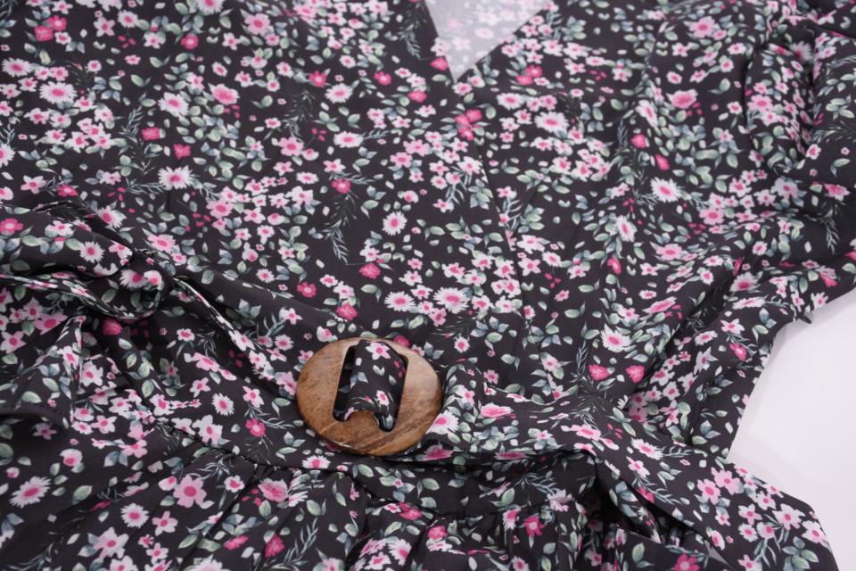 Camasa cu imprimeu floral si maneci 3/4-bleumarin-