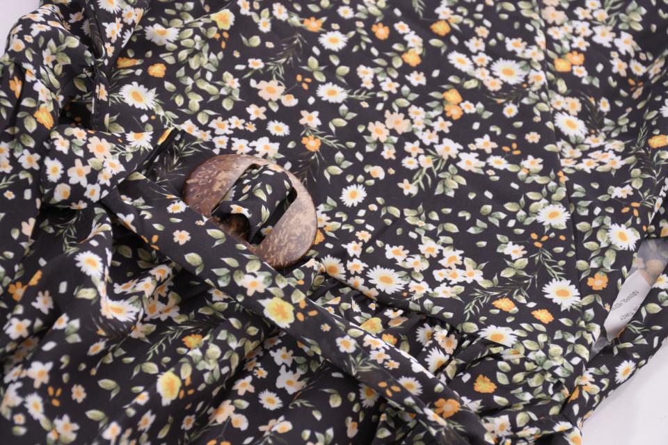 Camasa cu imprimeu floral si maneci 3/4-negru-E