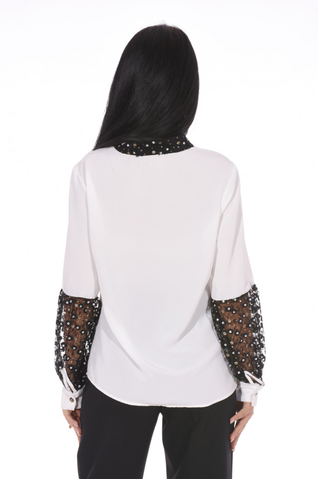 Camasa eleganta cu broderie si paiete- alb-
