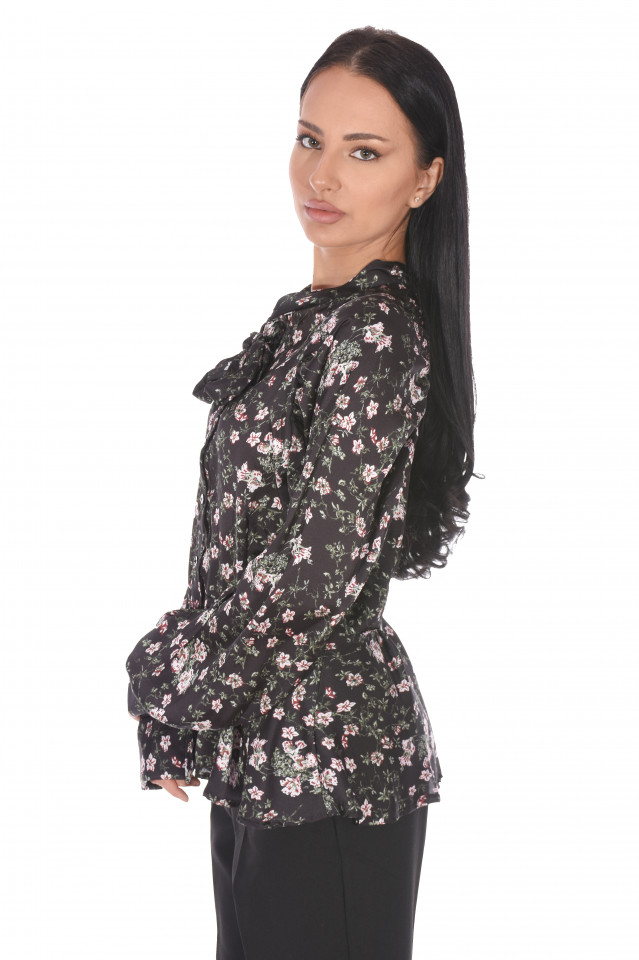 Camasa eleganta satinata cu imprimeu floral- negru-