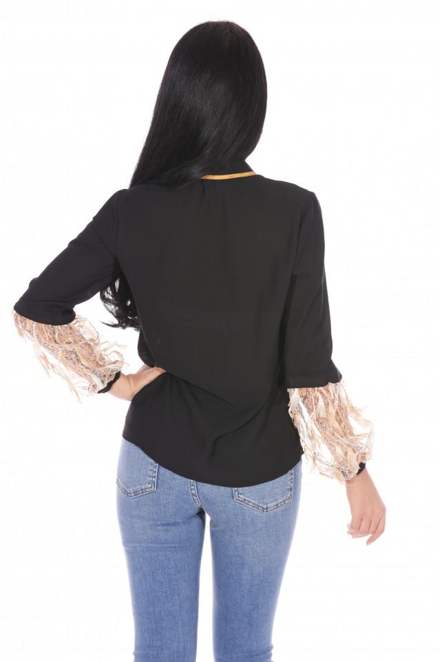 Camasa neagra eleganta cu broderie si aplicatii pe maneci