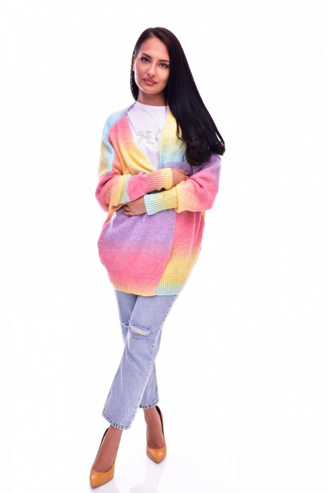 Cardigan dama multicolor fara inchidere