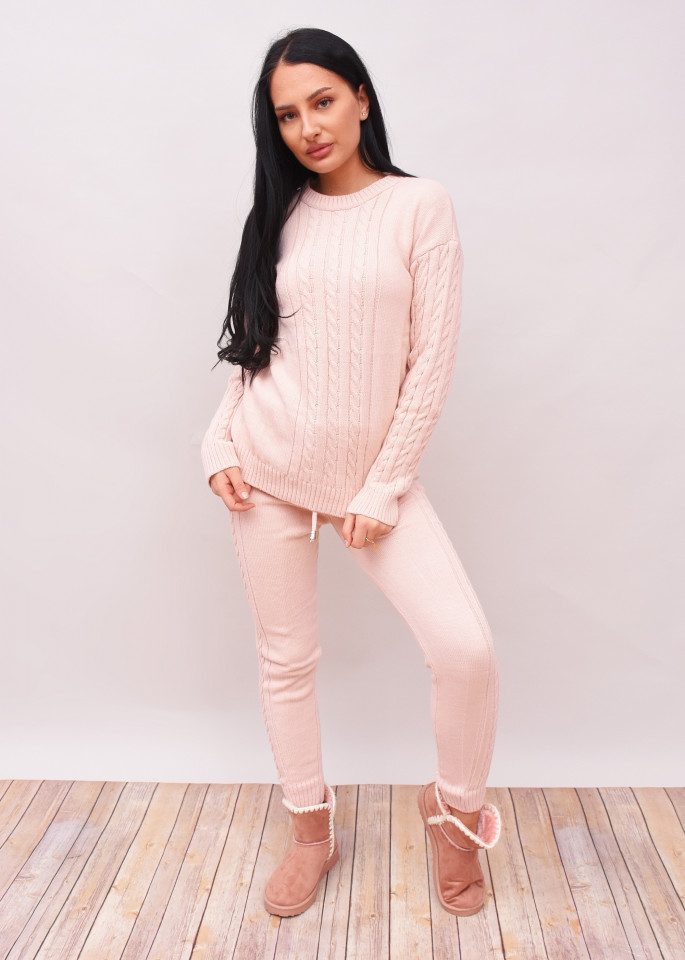 Compleu dama din doua piese din tricot roz prafuit