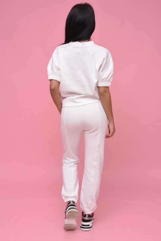 Compleu dama Karol din doua piese din tricot alb