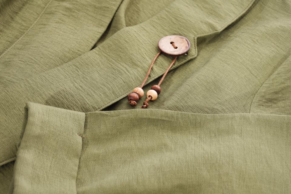 Jacheta/blazer cu maneci 3/4 si accesoriu - kaki