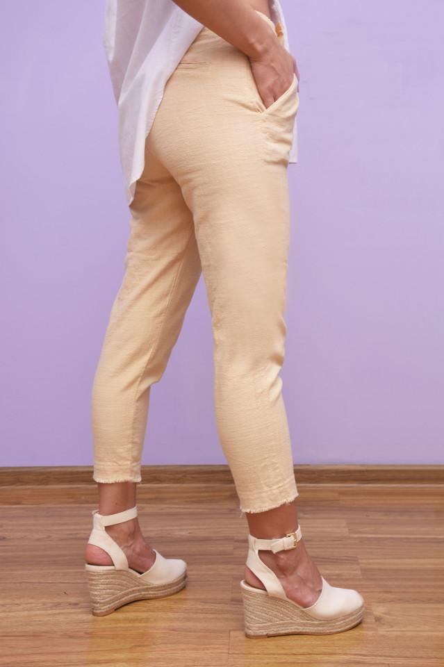 Pantaloni casual din bumbac cu tiv maruntit-crem