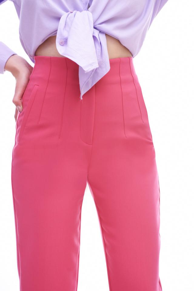 Pantaloni dama chino cu talie inalta- roz