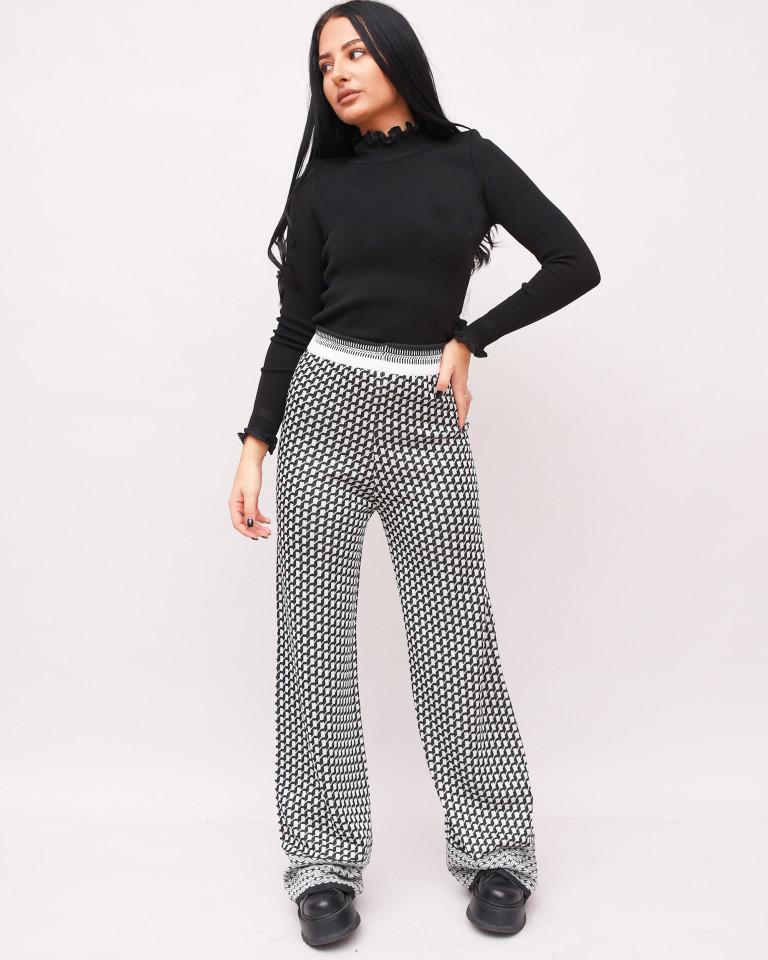 Pantaloni largi din tricot-negru-
