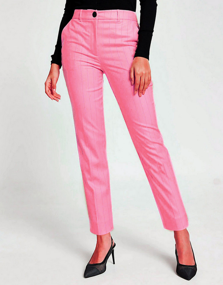Pantaloni roz cu dungi gri River Island
