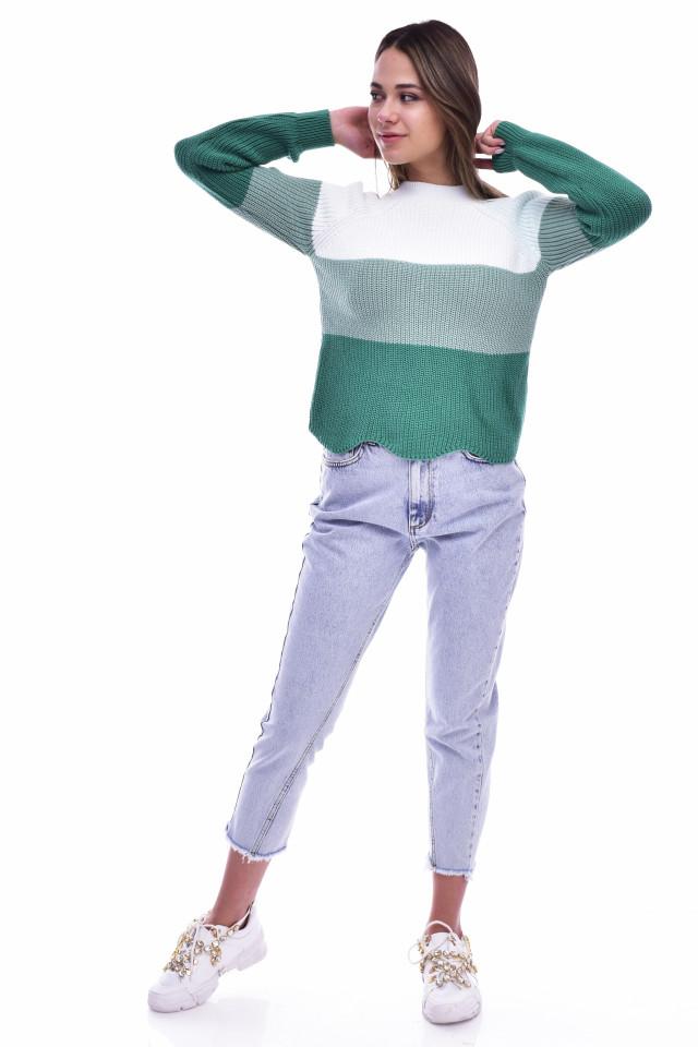 Pulover dama cu dungi din tricot gros