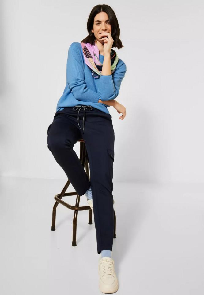 Pulover texturat cu nasturi pe spate - albastru