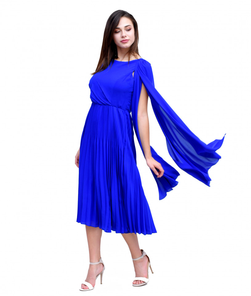 Rochie albastru cobalt plisata