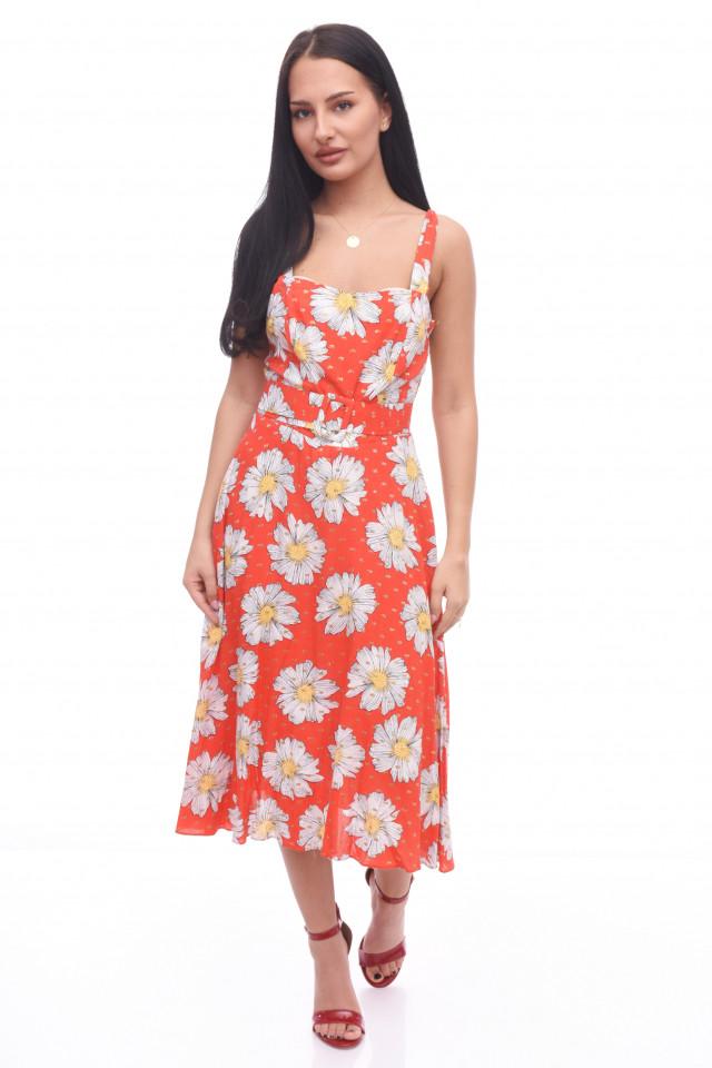 Rochie cu imprimeu floral Anna - rosu
