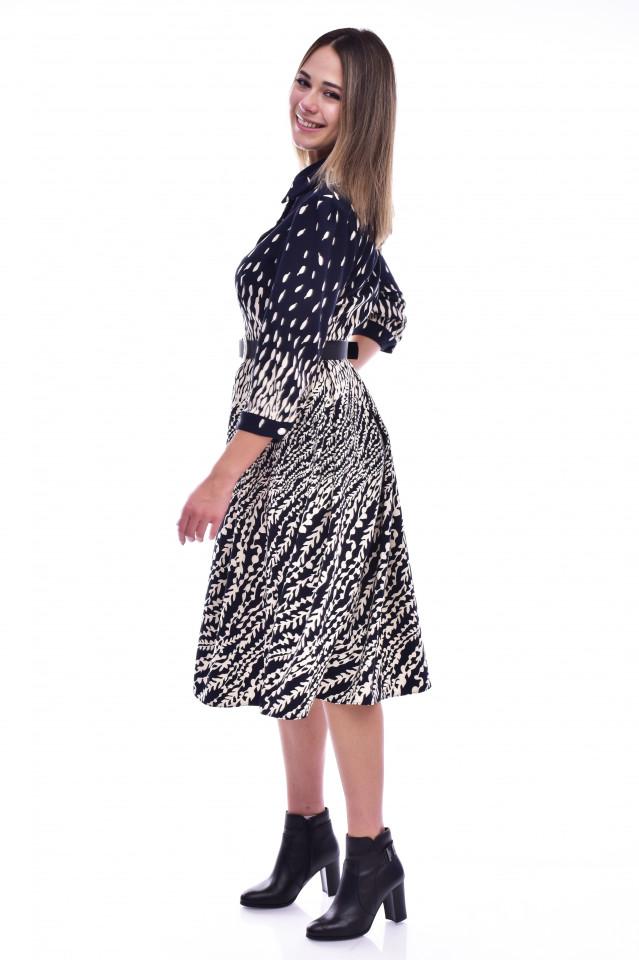 Rochie cu imprimeu si maneca lunga- bleumarin