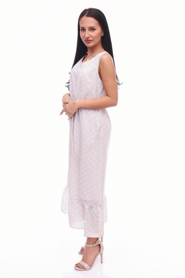 Rochie lunga cu buline Anastasia- bej-E