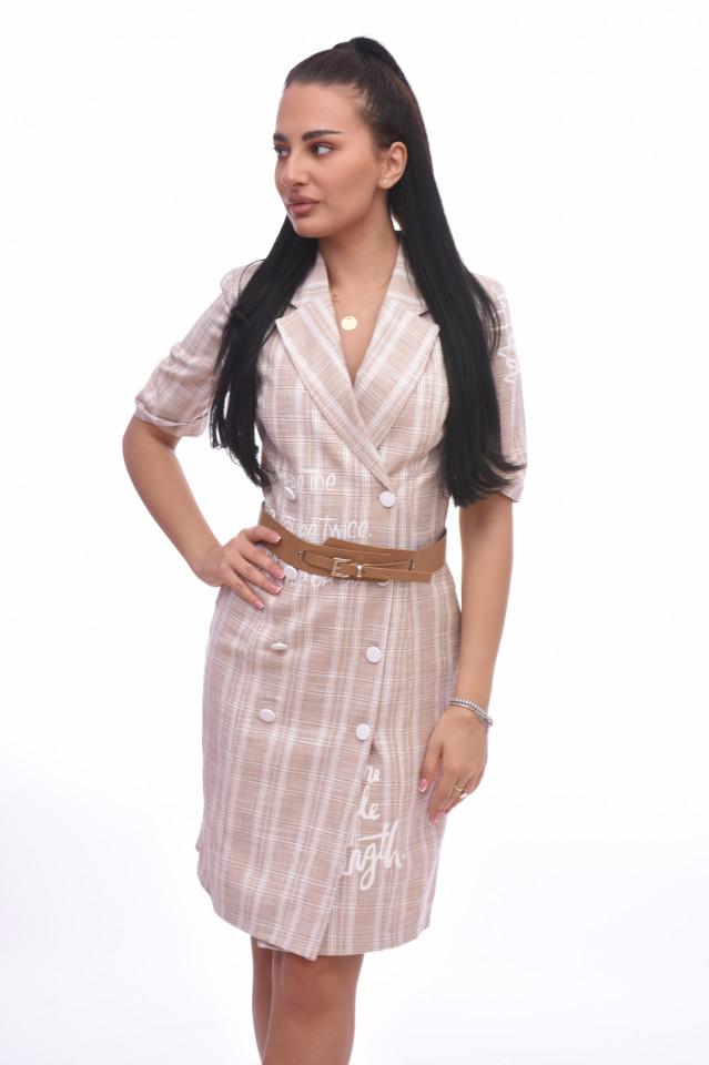 Rochie midi casual in carouri Tanya- roz