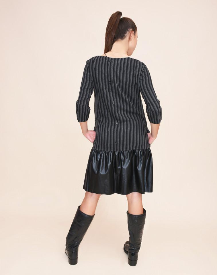 Rochie midi cu dungi si piele ecologica