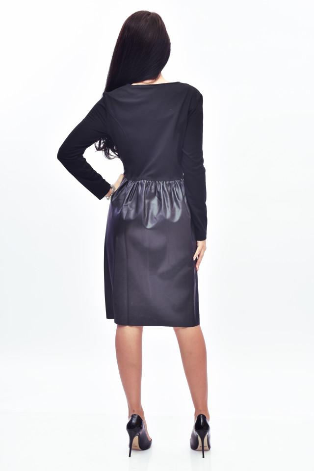 Rochie midi din piele ecologica cu fermoar asimetric