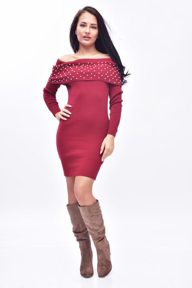 Rochie midi din tricot eleganta cu umerii goi