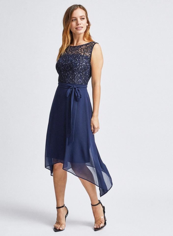Rochie midi eleganta cu dantela si voal- bleumarin-