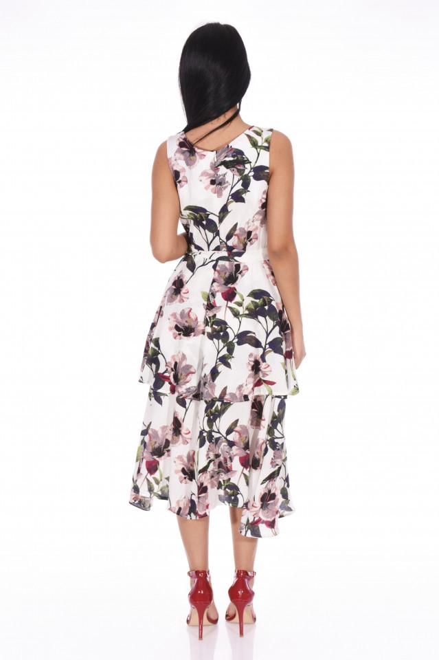 Rochie midi eleganta cu imprimeu floral si volane-E