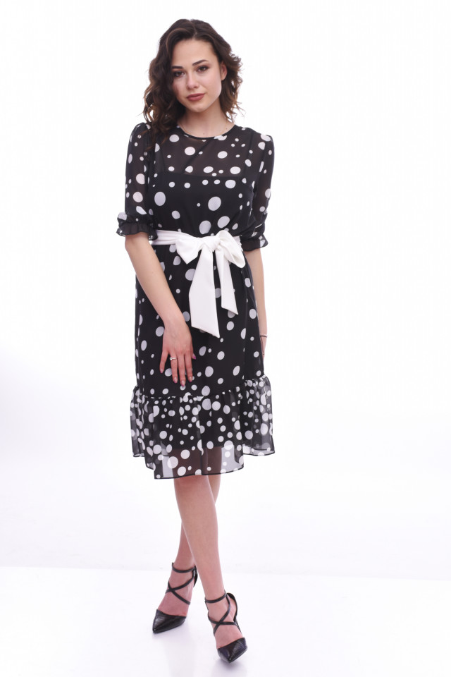 Rochie midi eleganta cu volane si buline