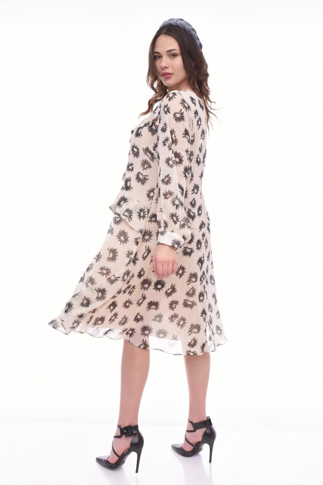 Rochie midi eleganta cu volane si imprimeu floral Isabel- bej-