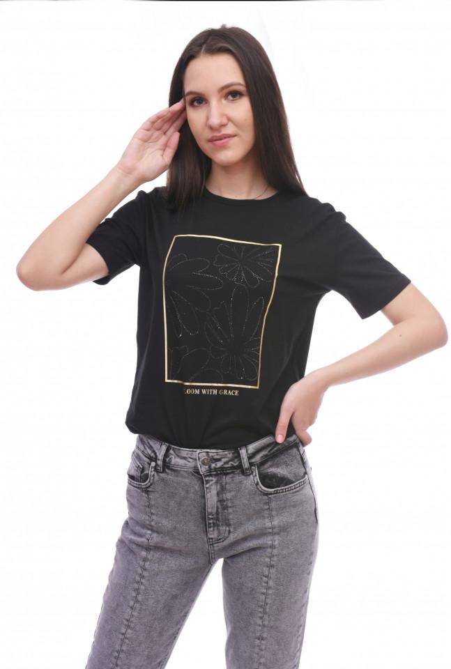 Tricou dama din bumbac cu imprimeu floral Karol- negru -