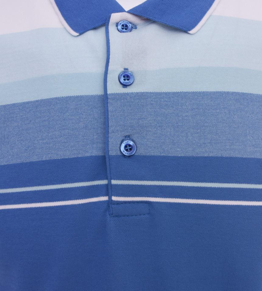 Tricou Polo Barbati Regular fit Tony Montana cu dungi - albastru/bleo