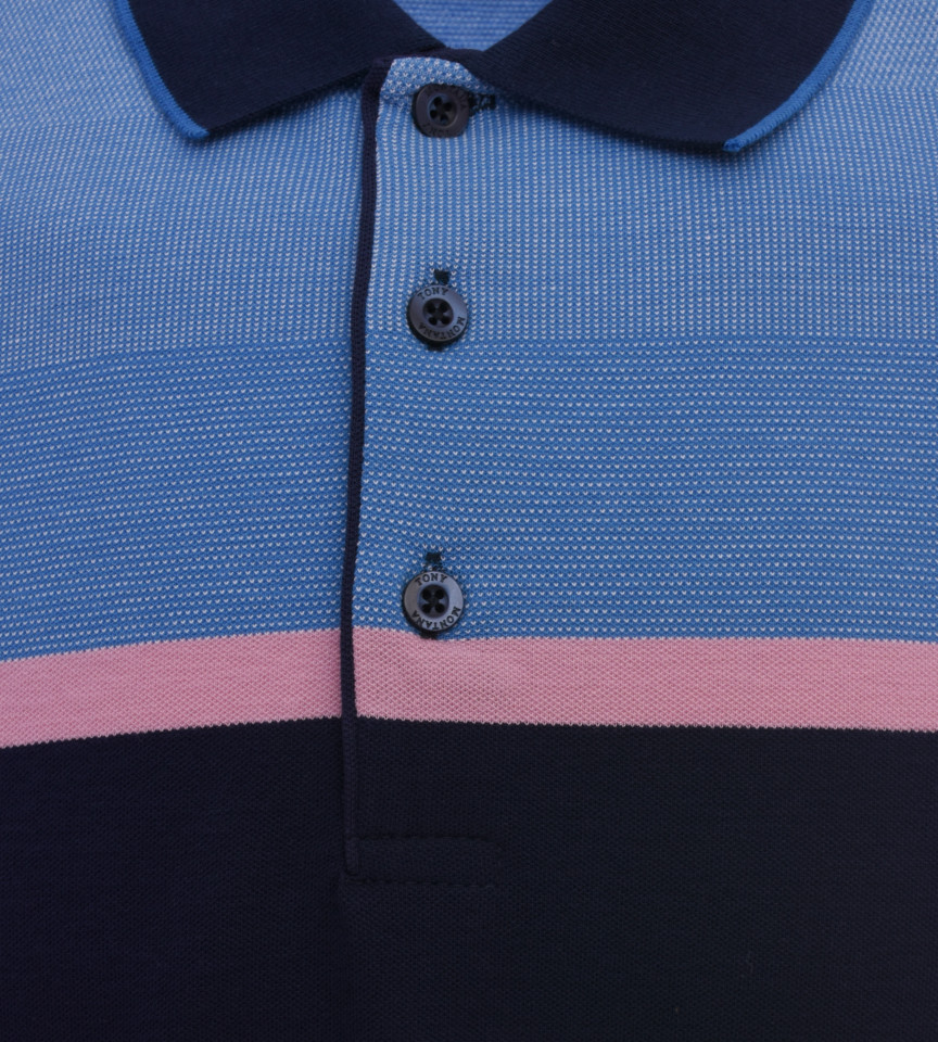 Tricou Polo Barbati Regular fit Tony Montana cu dungi - albastru/roz