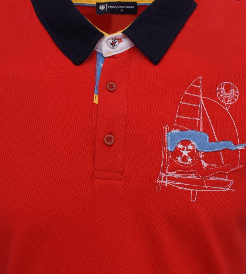Tricou Polo Barbati Regular Tony Montana Sail- rosu