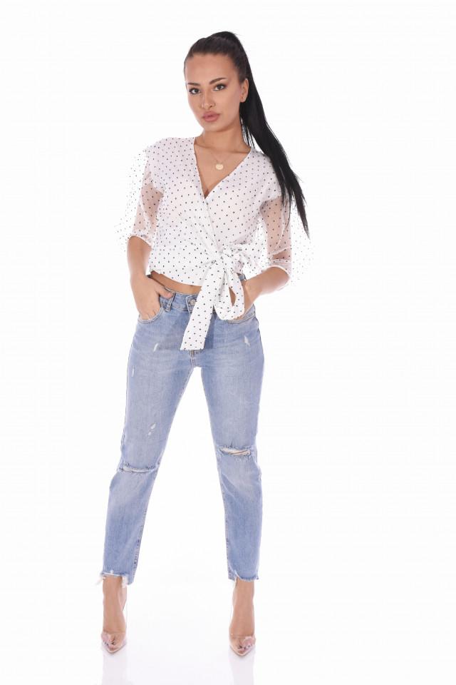 Bluza eleganta cu maneci bufante si dublura de organza- alb -