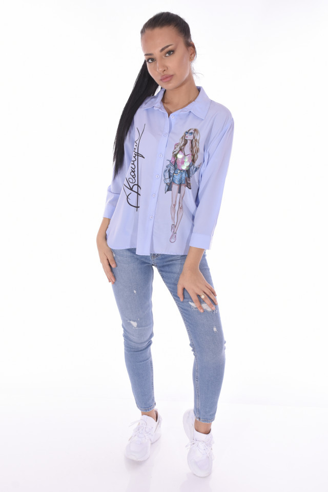 "Camasa casual "" Beautiful ""-E-bleu-"