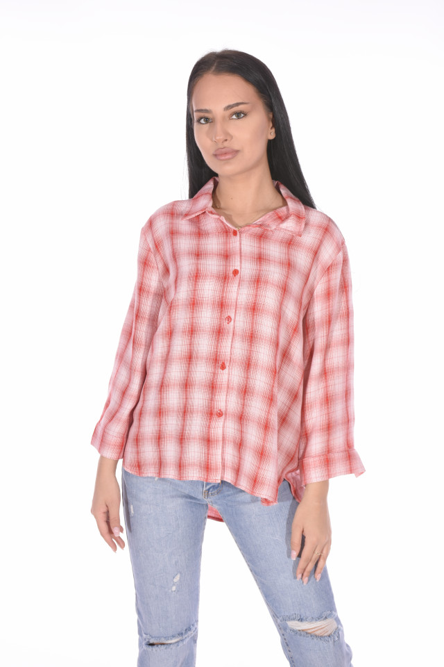 Camasa dama casual in carouri -roz corai-