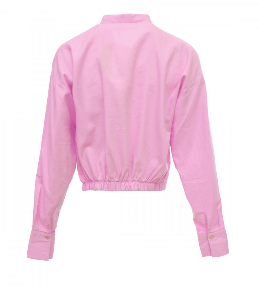 Camasa din bumbac asimetrica KAROL- roz