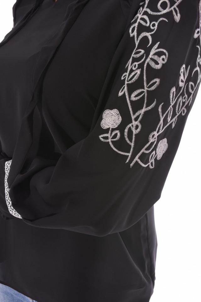 Camasa eleganta cu broderie florala pe maneci-negru-