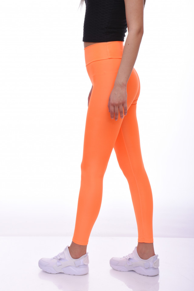Colanti luciosi cu talie inalta si efect modelator-portocaliu-