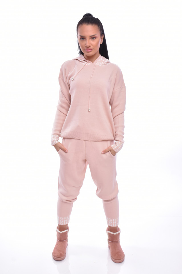 Compleu dama Joyce din doua piese din tricot roz prafuit