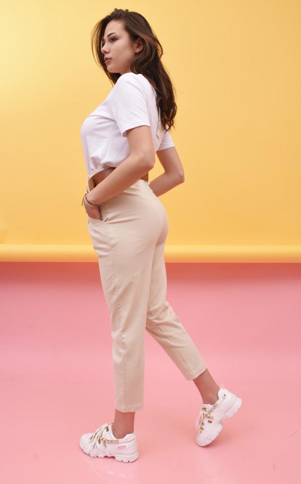 Pantaloni dama Karol conici cu curea