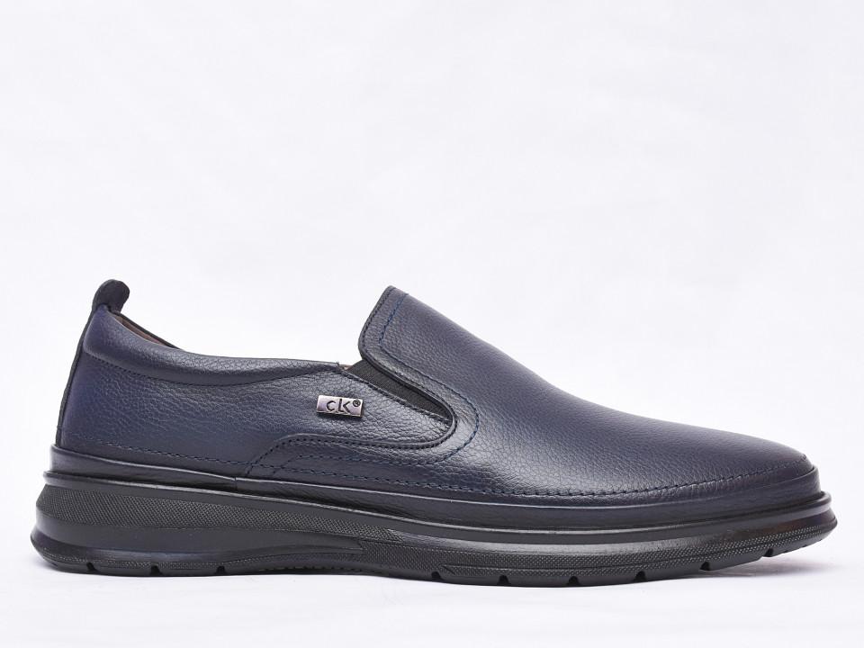 Pantofi barbati bleumarin din piele naturala