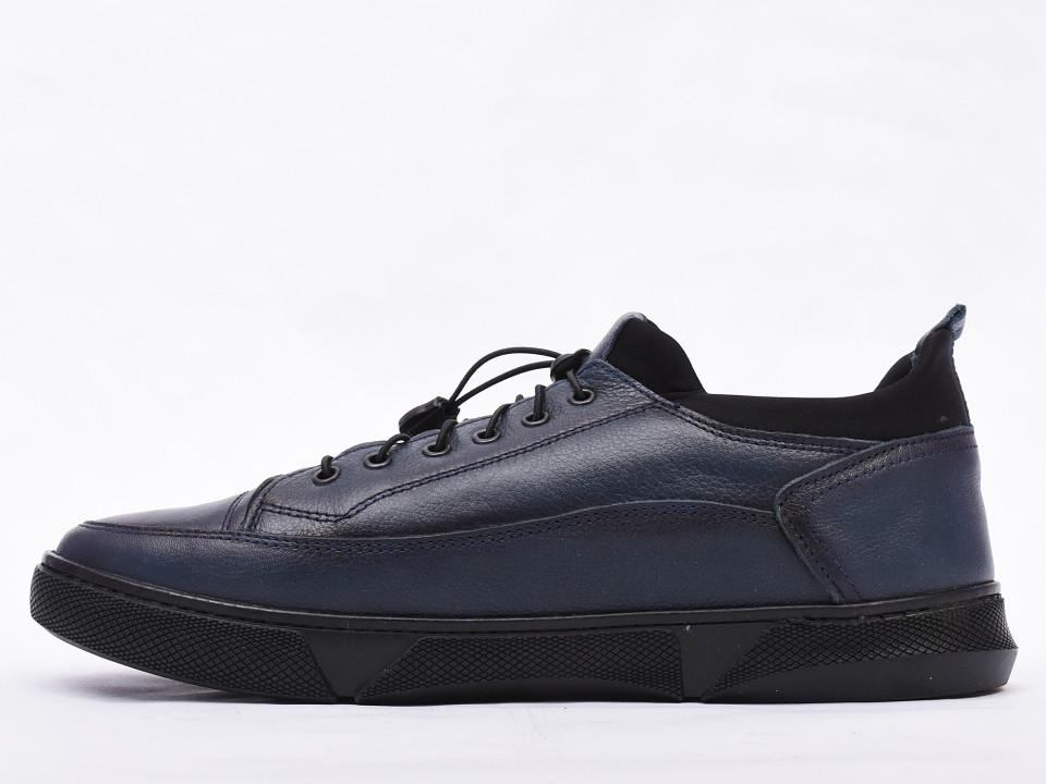 Pantofi casual barbati bleumarin din piele naturala