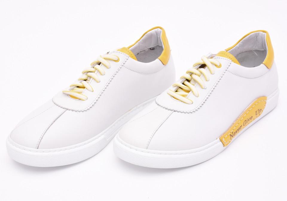 Pantofi sport barbati albi din piele naturala Tony Montana