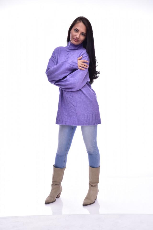 Pulover dama din tricot gros cu detalii decorative - mov-E-