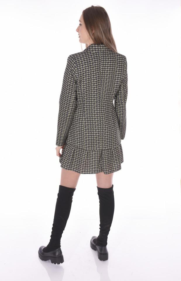 Rochie blazer in carouri-kaki-