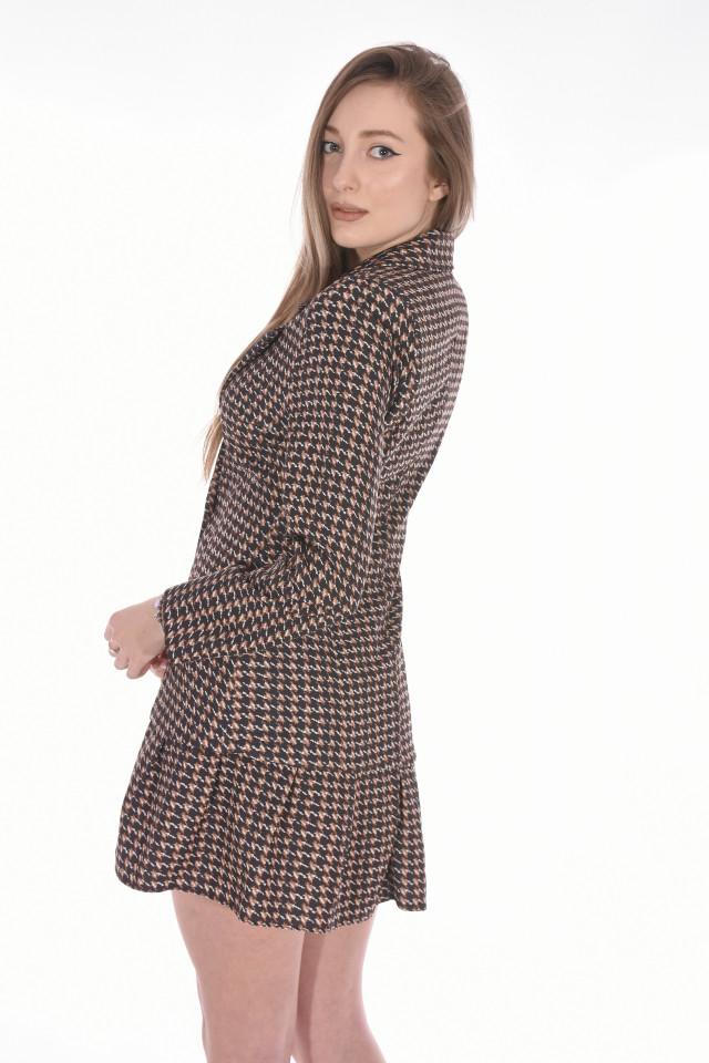 Rochie blazer in carouri-maro-E