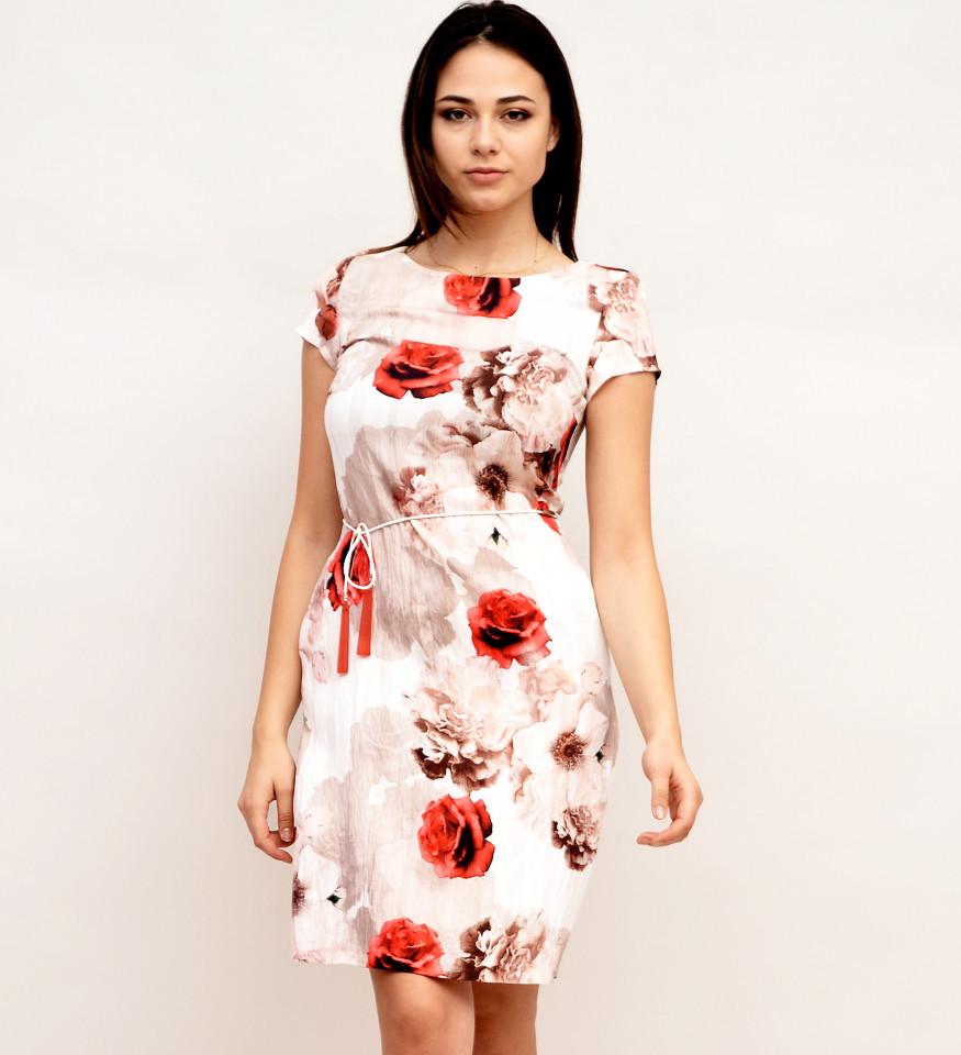 Rochie casual dreapta cu imprimeu floral