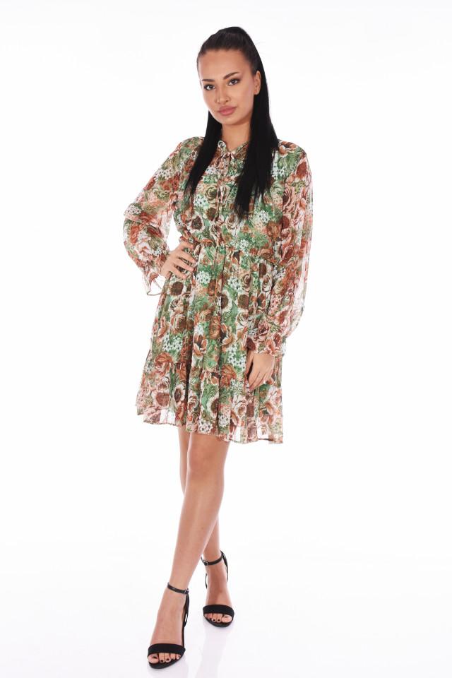 Rochie din voal cu imprimeu floral -verde-