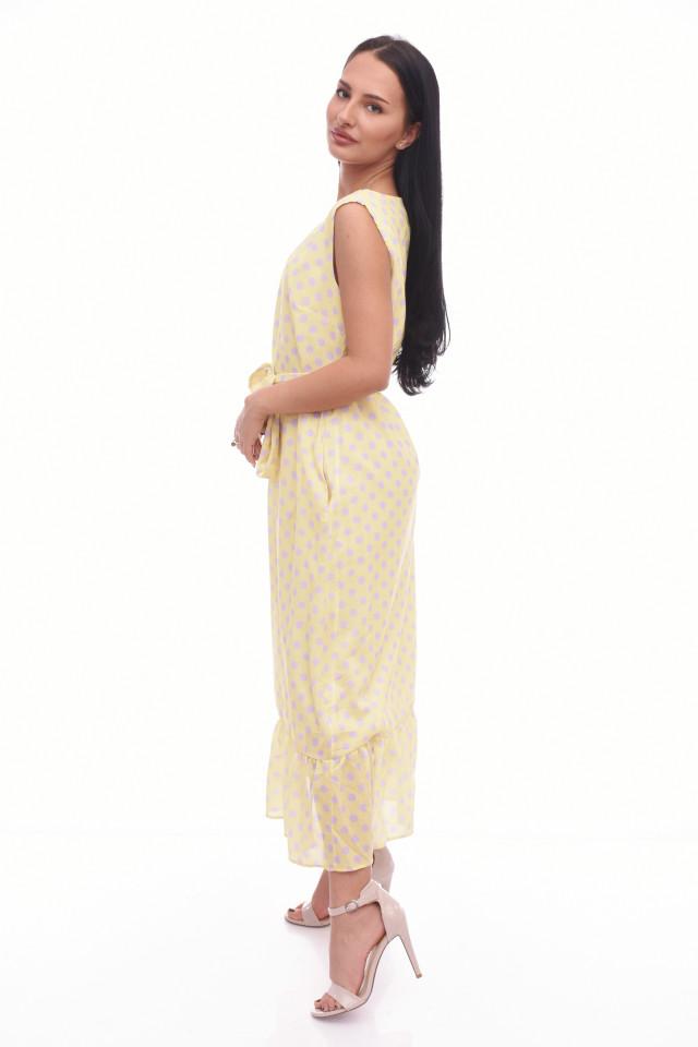 Rochie lunga cu buline Anastasia- galbena-