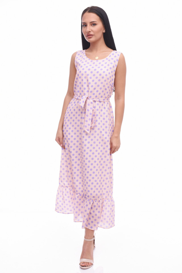 Rochie lunga cu buline Anastasia- roz-